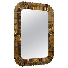 Contemporary Italian Scalloped Double Frame Silvered Bronze Murano Glass Mirror