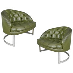 Pair of 1960s Diamond Tufted Lounge Chairs