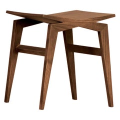 Icaro, Contemporary Low Stool Made of Solid Ashwood