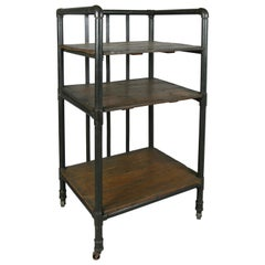 Antique Industrial Cast Iron Rolling Cart Bookcase
