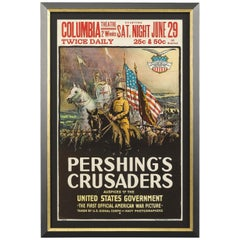 """Pershing's Crusaders"" Antique WWI Movie Poster, circa 1918"