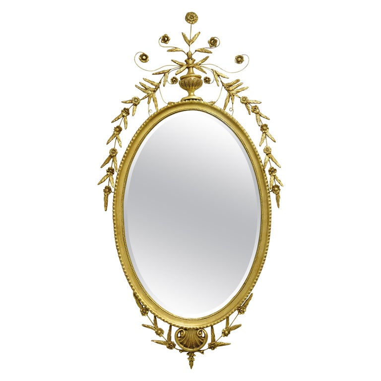 Friedman Brothers Large Oval Adams Style Gold Giltwood Wall Mirror For Sale