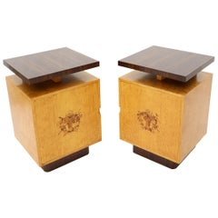 Pair of Large Mid-Century Modern Rosewood and Birdseye Maple Cabinets End Tables