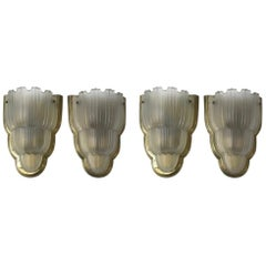 Set of Four French Art Deco Sconces Signed by Sabino