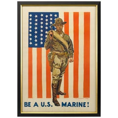 Be a U.S. Marine! World War i Recruitment Poster by James M. Flagg, circa 1917