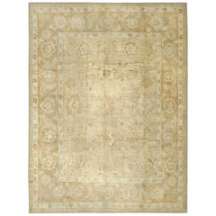 Angora Turkish Oushak Rug in Light Brown and Cream