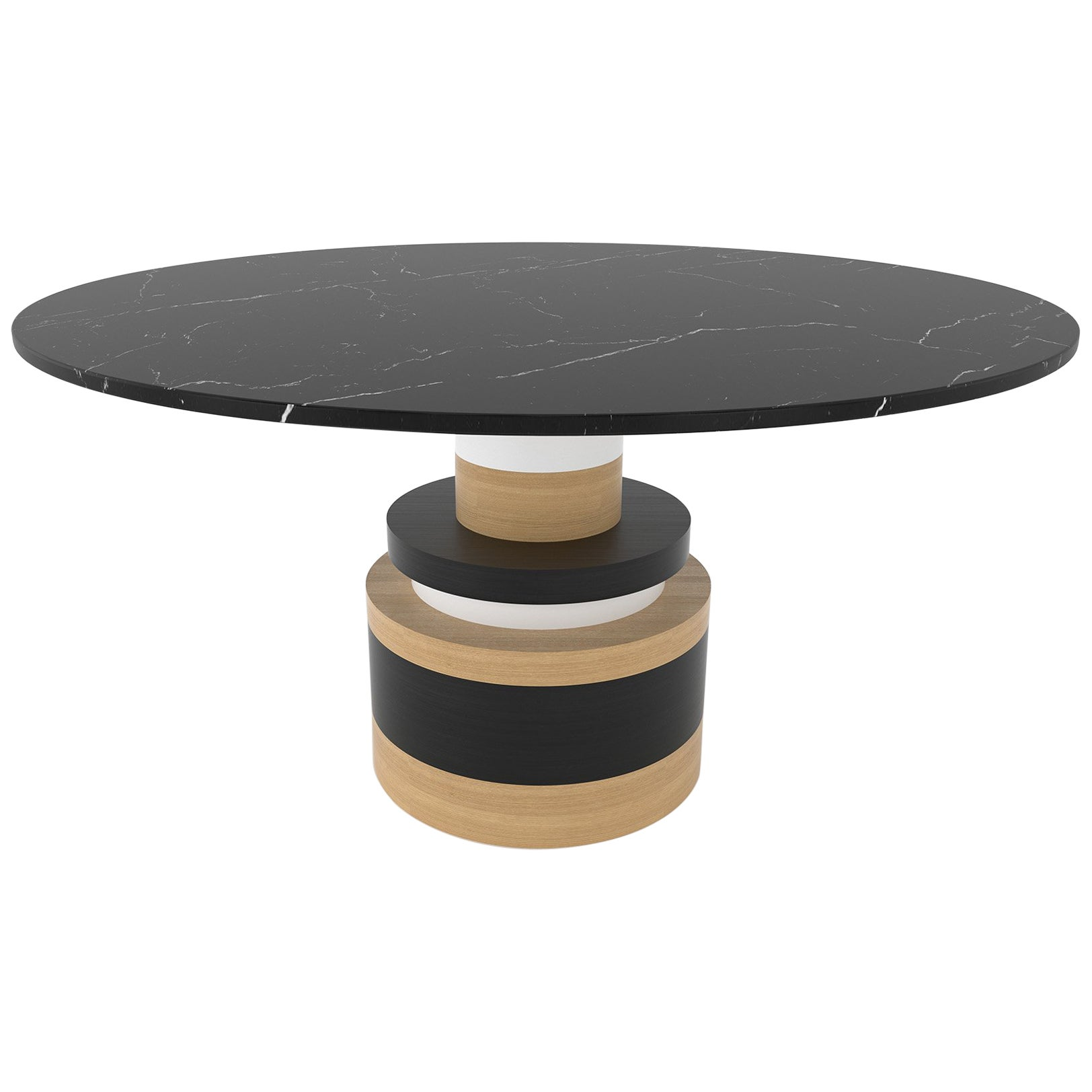 Customizable Sass Dining Table from Souda, Large, Black Marble Top