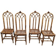 Mid-Century Modern Italian Set of Bamboo and Rattan Regency Style Chairs, 1960s