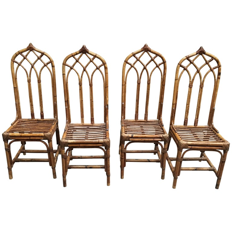 Mid-Century Modern Italian Set of Bamboo and Rattan Regency Style Chairs, 1960s For Sale