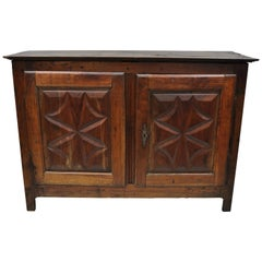 17th Century Carved Walnut Italian Baroque Two-Door Credenza Cabinet Buffet
