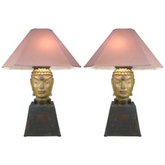 Pair of 1940s Buddah Lamps Attributed to James Mont