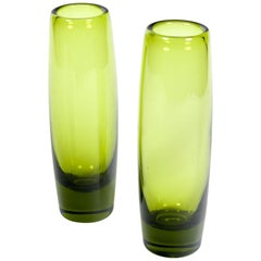 "Holmegaard Glass ""Rondo"" Vases in ""Majgron"" by Per Lutken, Denmark 1960s"