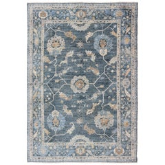 Angora Turkish Oushak Rug in Shades of Blue and Gray