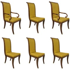 Six Karges French Neoclassical Regency Style Klismos Leg Walnut Dining Chairs