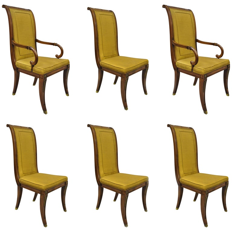 Six Karges French Neoclassical Regency Style Klismos Leg Walnut Dining Chairs For Sale