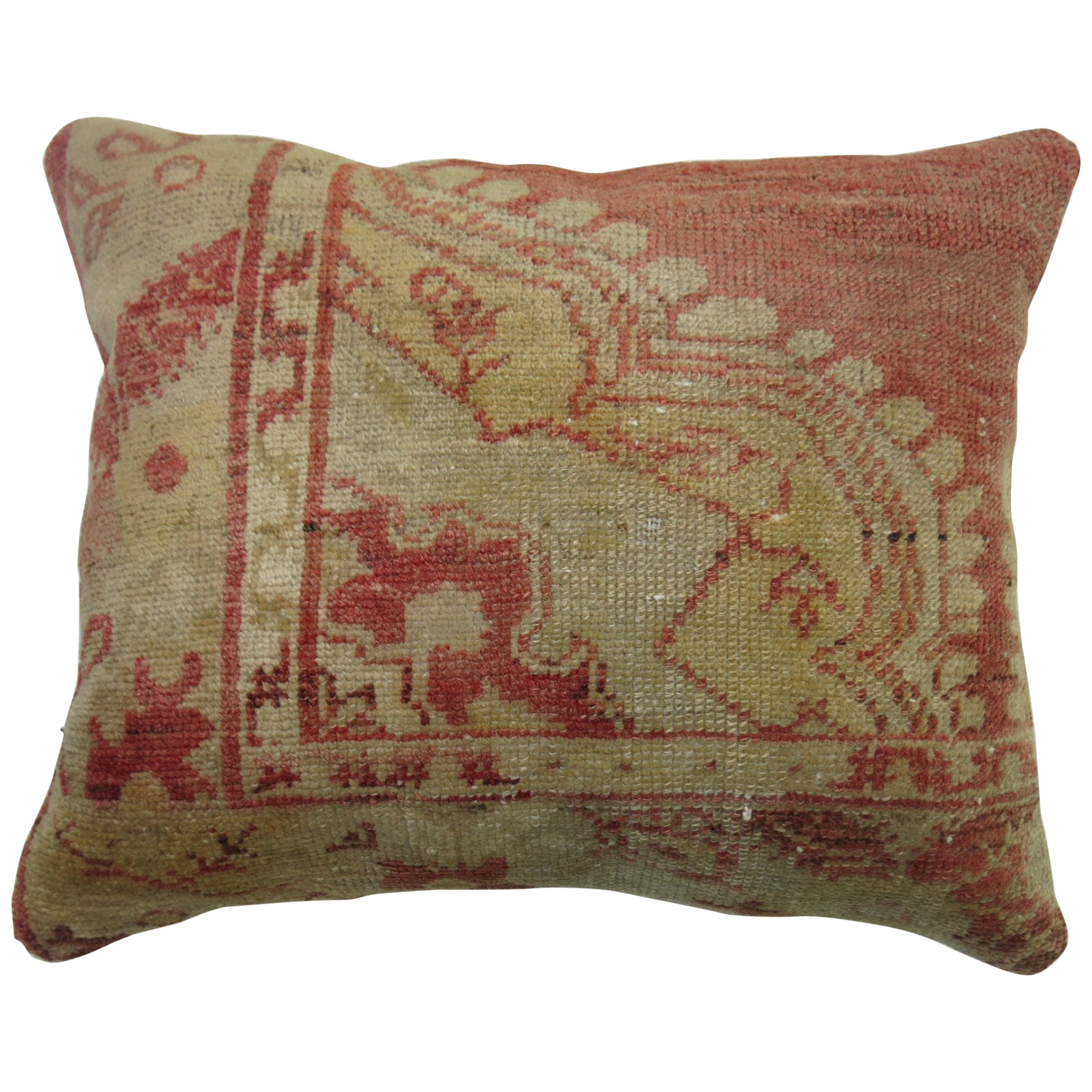 Soft Red Turkish Oushak Rug Pillow