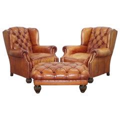 Pair of Unused Chesterfield Tetrad Oskar Brown Leather Armchairs & Stool Ottoman
