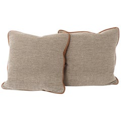 Down Filled Wool and Leather Throw Pillows
