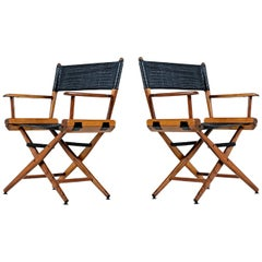 Telescope Director Chair Set, Restored with Black Alligator Leather