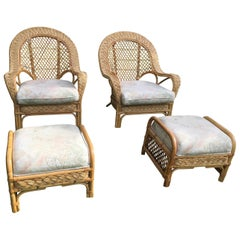 Oversized Bamboo & Rattan Armchairs and Ottomans, Pair