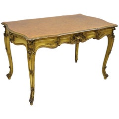 French Louis XV Style Gold Gilt Writing Desk with Marquetry Inlaid Top