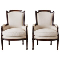 Pair of Maison Jansen Louis XVI Style Walnut Bergères