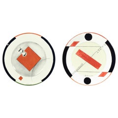Pair of Russian Constructivist Plates by Wladimir Njemuchin for Villeroy & Boch