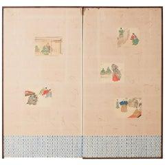 Japanese Taisho Period Byobu Screen with Noh Scenes