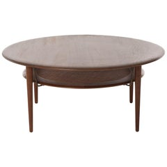 Danish Modern Round Teak Coffee Table with Floating Rattan Shelf