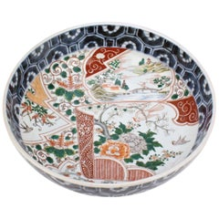 Large Antique Japanese Imari Porcelain Punch Bowl