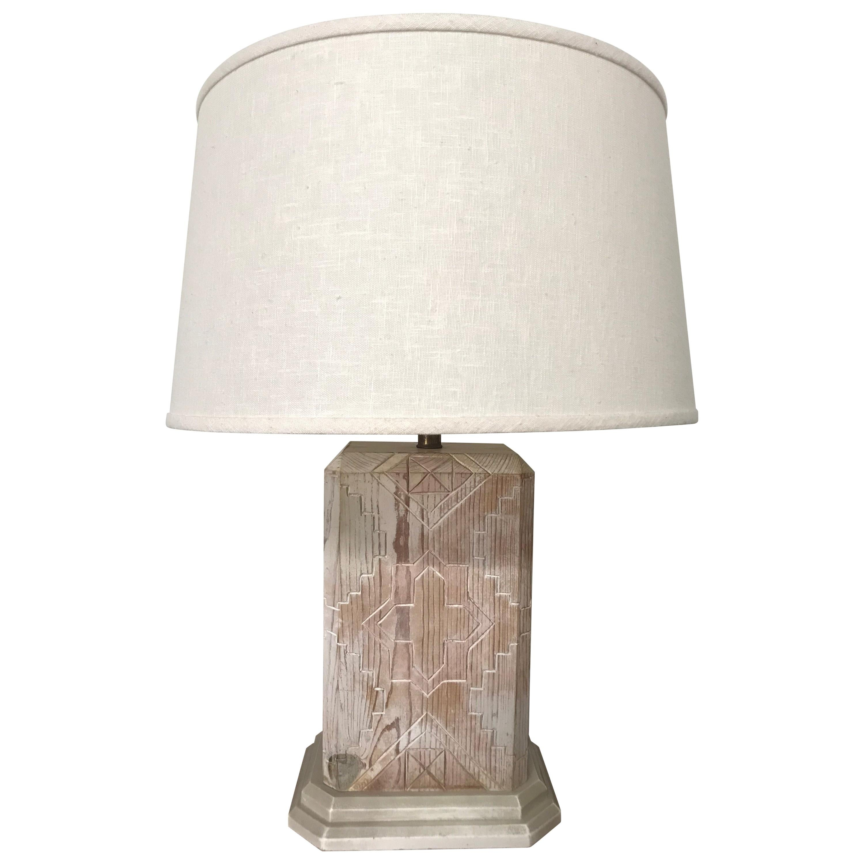 Incroyable Southwestern Style Cerused White Washed Oak Table Lamp By Sarreid Ltd