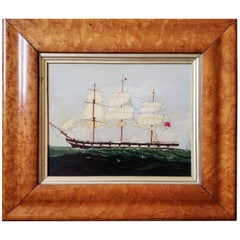 English Ship Painting of a Merchant Navy Clipper Ship, Oil on Board, circa 1860