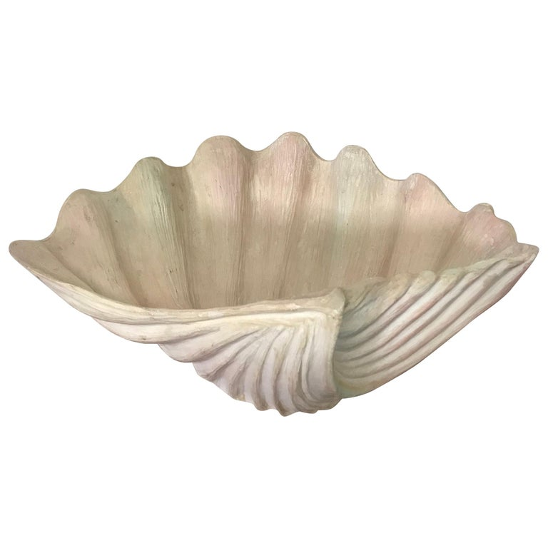 Hand Carved Organic Modern Wood Shell Bowl For Sale