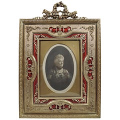 Antique French Rococo Revival Gilt Bronze and Red Enamel Picture Frame