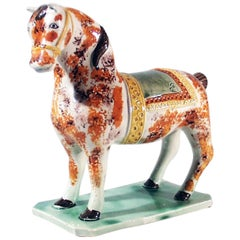English Finely Colored Pearlware Horse, St Anthony, Newcastle, circa 1825