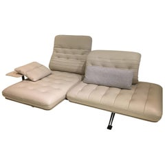 DS-490 Functional Sofa Cream White Leather with Side Table & Cushions by De Sede