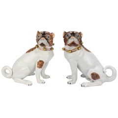 Matched Pair of Dresden Porcelain Pug Dog Figurines