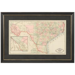 """New Rail Road and County Map of the Southern Part of Texas"" George Cram, 1882"