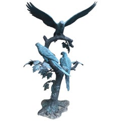 Large Garden Bronze Sculpture of Parrots