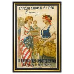 Paris 6% Emprunt National 1920 Poster by G. Seignac, circa 1920