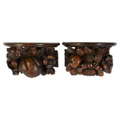 Pair of Acorns and Fruit wood Brackets