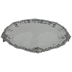 Antique Georgian Revival Sterling Silver Salver Tray by New York Maker