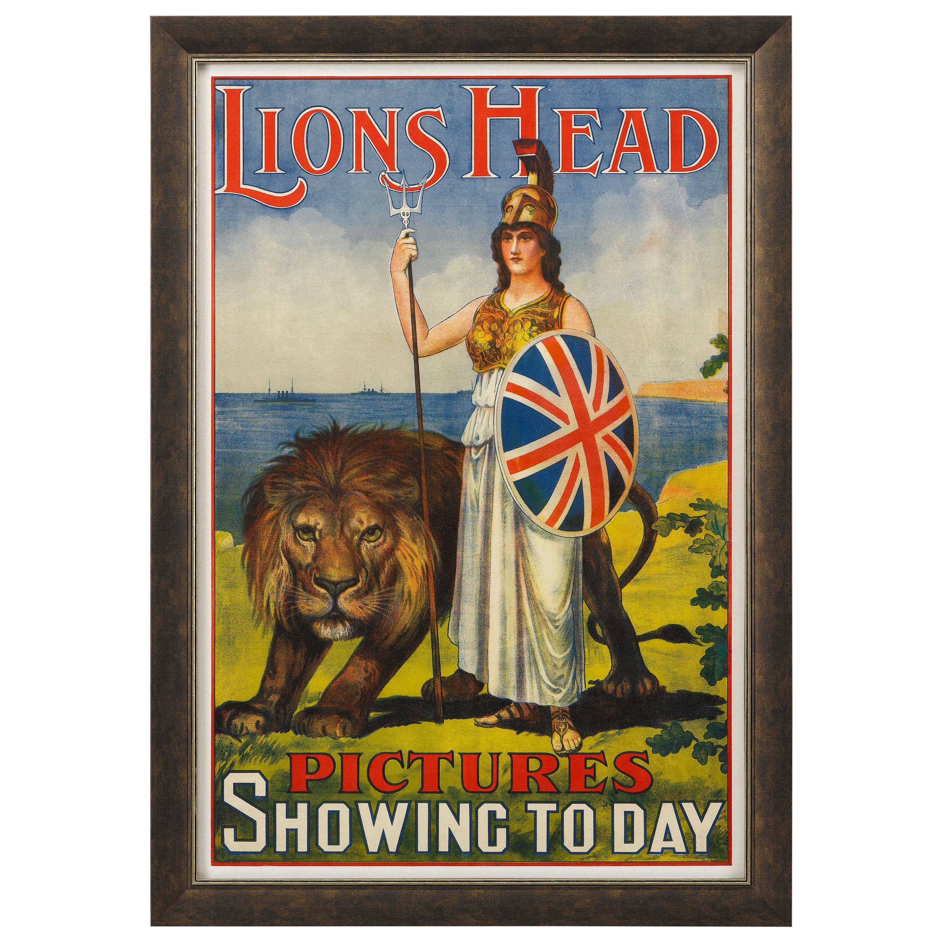 Lions Head Pictures Vintage Cinematic Poster, circa 1911