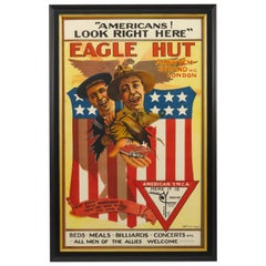 """Eagle Hut"" World War I American Y.M.C.A. in London Antique Poster, circa 1918"