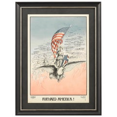 """""""Forward America!"""" Vintage WWI French Poster by Carroll Kelly, 1917"""