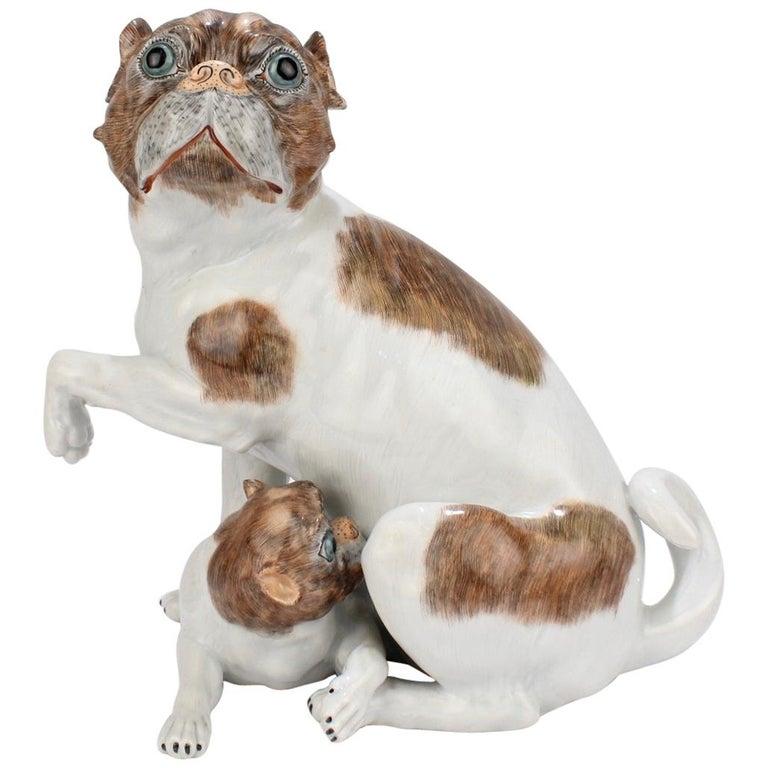 Large Dresden Porcelain Pug Dog Mother and Puppy Figurine or Model For Sale