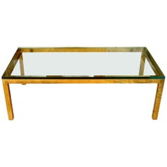 Vintage Brass Cocktail Table with Glass Top