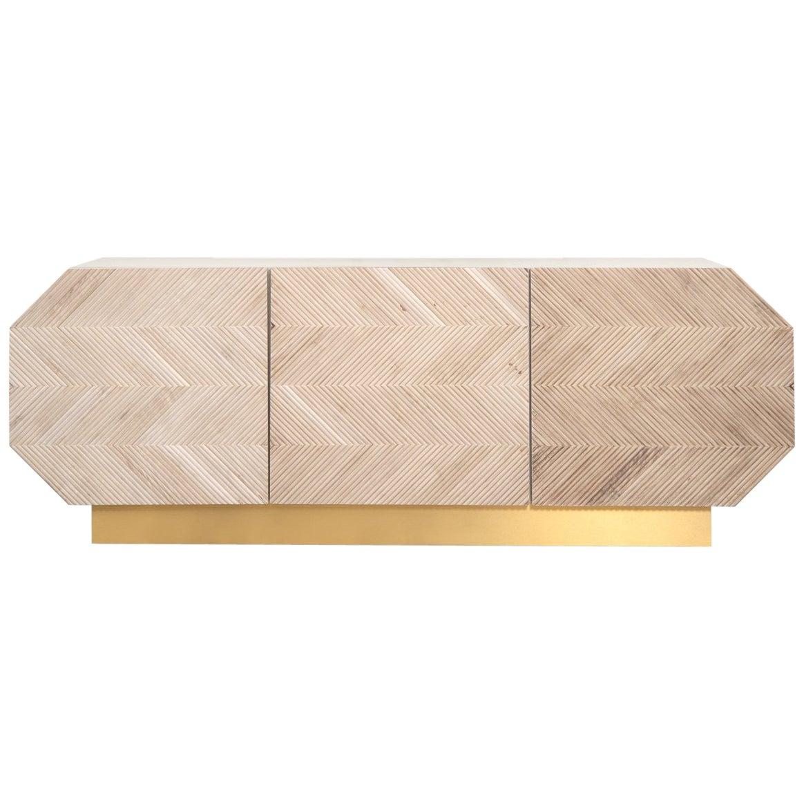 Mid-Century Modern Octagonal Walnut Wood Sideboard with Brass Toe Kick