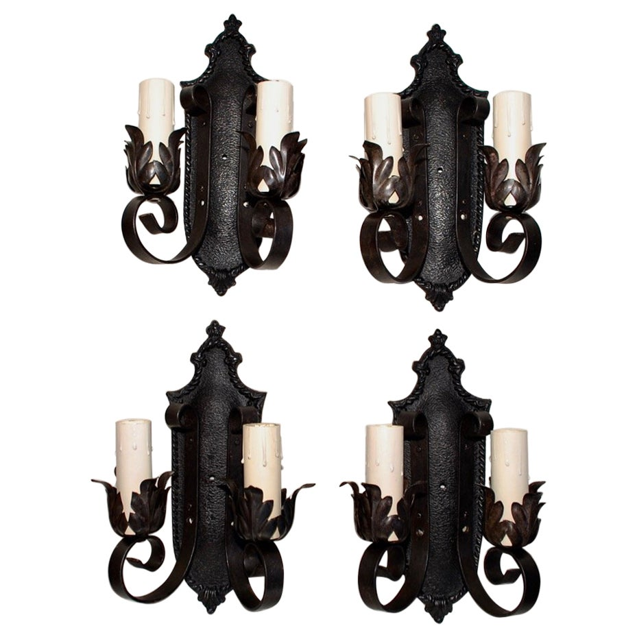 Set of Four 1920s Cast Iron/Wrought Iron Sconces 'Restored'