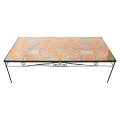 1960s Peruvian Pre-Colombian Textile Wrought Iron Coffee Table